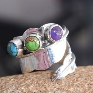 Jewelry - Size 6 Mojave Blue, Purple & Green Turquoise Ring